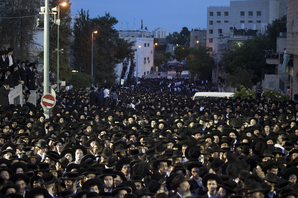 . JERUSALEM, ISRAEL - MAY 16:  �Ultra-Orthodox demonstrators pack the streets on May 16, 2013 in Jerusalem, Israel. Tens of Thousands of ultra-Orthodox Israelis have clashed with police after gathering to protest against newly proposed government legislation that would see them drafted into the military.  (Photo by Uriel Sinai/Getty Images)