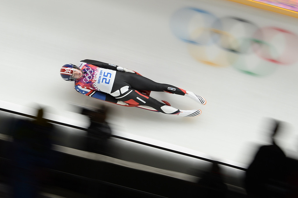 . US Summer Britcher competes during the Women\'s Luge Singles run one at the Sliding Center Sanki during the Sochi Winter Olympics on February 10, 2014.   AFP PHOTO / LIONEL BONAVENTURE/AFP/Getty Images