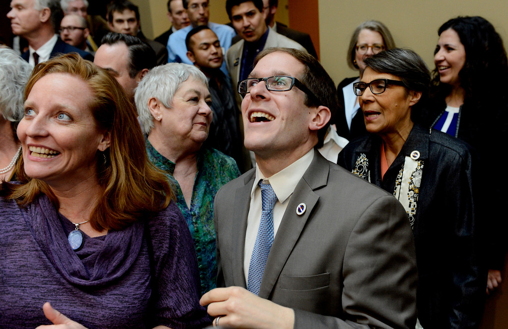 . DENVER, CO. - MARCH 21: Speaker Mark Ferrandino looks at the crowd before a bill signing ceremony at the History Colorado Center in  Denver, CO March 21, 2013. Gov. John Hickenlooper signed the Colorado Civil Union Act, making Colorado one of 18 states that offer recognition of same-sex couples, either through marriage or civil unions, according to the state\'s largest gay-rights group, One Colorado. The bill was sponsored by four openly gay lawmakers, Senators Pat Steadman and Lucia Guzman, Representative Sue Schafer, and Speaker Mark Ferrandino. (Photo By Craig F. Walker/The Denver Post)