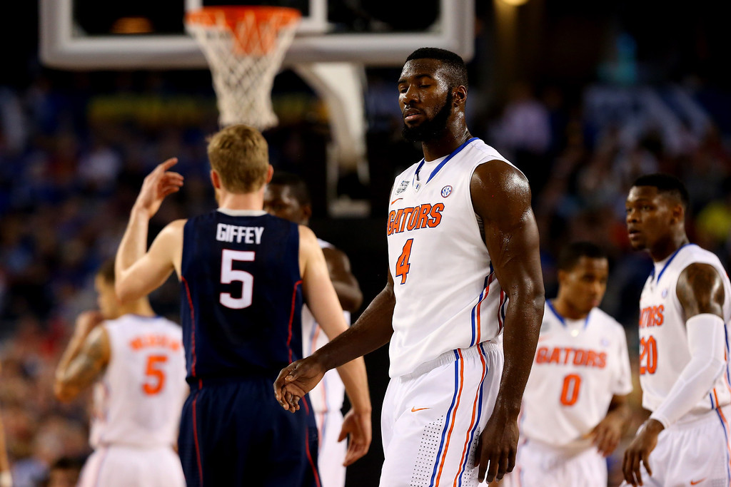 . ARLINGTON, TX - APRIL 05: Patric Young #4 of the Florida Gators looks on during the NCAA Men\'s Final Four Semifinal against the Connecticut Huskies at AT&T Stadium on April 5, 2014 in Arlington, Texas.  (Photo by Ronald Martinez/Getty Images)