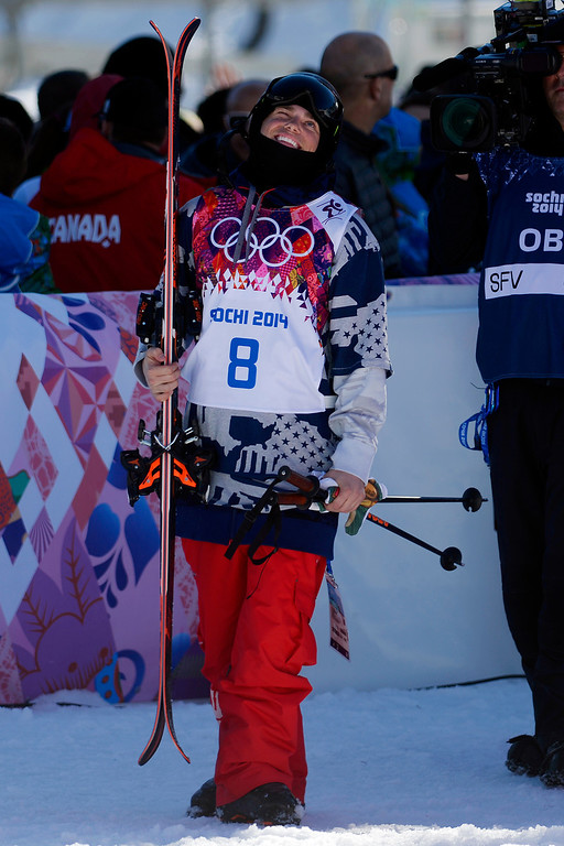 . U.S.A. skier Gus Kenworthy reacts to moving into second place after his second run during the men\'s ski slopestyle final at the Rosa Khutor Extreme Park. Sochi 2014 Winter Olympics on Thursday, February 13, 2014. (Photo by AAron Ontiveroz/The Denver Post)
