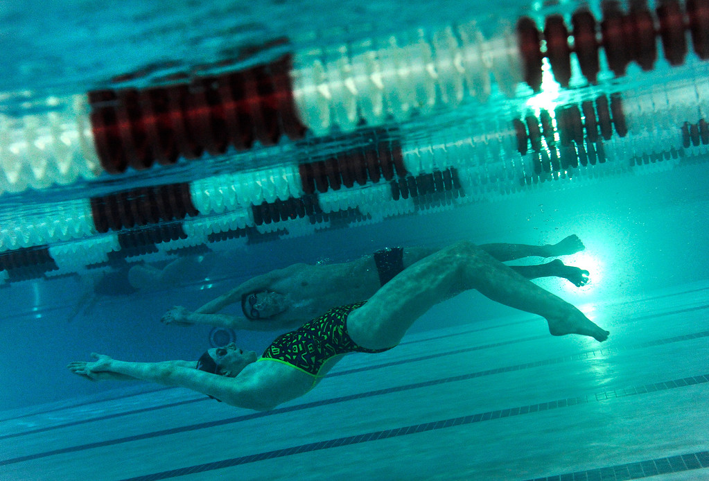 . Missy Franklin swims underwater during her practice at Carmody Recreation Center on Monday, February 20, 2012 in Lakewood. John Leyba, The Denver Post
