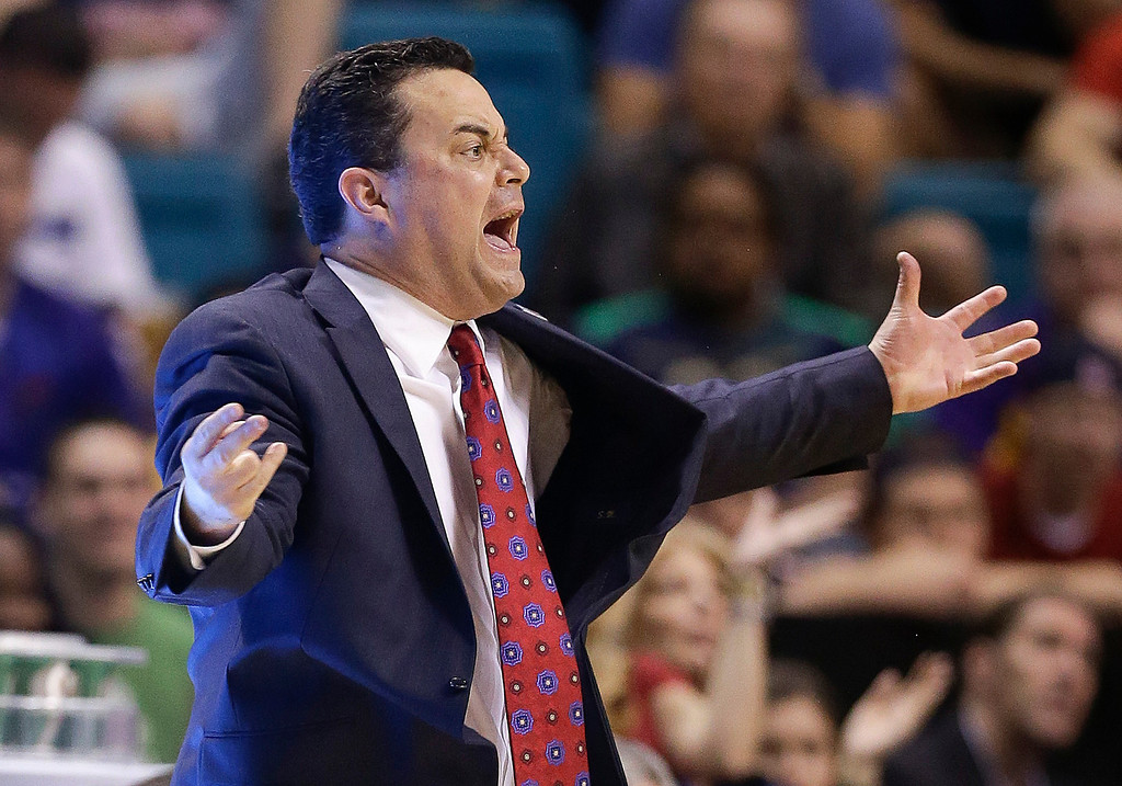 . Arizona coach Sean Miller gestures during the second half against Colorado of a Pac-12 men\'s tournament NCAA college basketball game, Thursday, March 14, 2013, in Las Vegas. Arizona won 79-69. (AP Photo/Julie Jacobson)