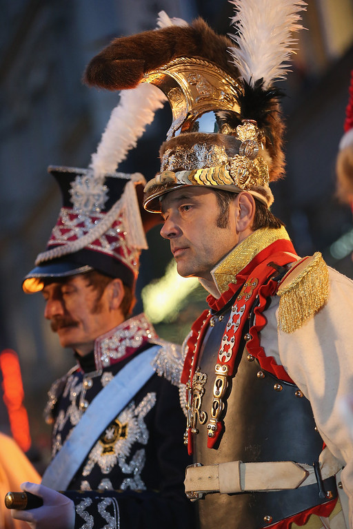 . Actors in the role of Polish Prince and Marshall Jozef Poniatowski (L) and the commander of Bodyguards to the King of Saxony attend the opening ceremony to commemorate the 200th anniversary of The Battle of Nations on October 16, 2013 in Leipzig, Germany.  (Photo by Sean Gallup/Getty Images)