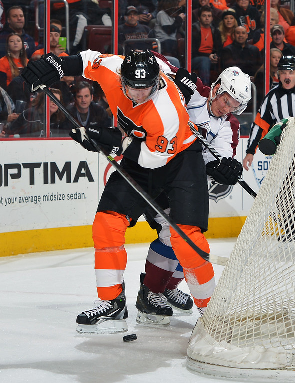 . PHILADELPHIA, PA - FEBRUARY 06: Jakub Voracek #93 of the Philadelphia Flyers and Nick Holden #2 of the Colorado Avalanche battle for the puck behind the net at the Wells Fargo Center on February 6, 2014 in Philadelphia, Pennsylvania.  (Photo by Drew Hallowell/Getty Images)