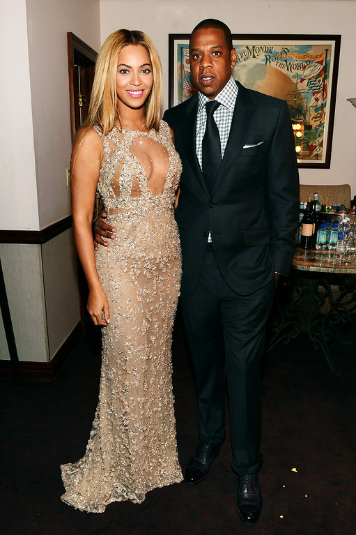 """. NEW YORK, NY - FEBRUARY 12:  Beyonce and Jay-Z attend the HBO Documentary Film \""""Beyonce: Life Is But A Dream\"""" New York Premiere at the Ziegfeld Theater on February 12, 2013 in New York City.  (Photo by Larry Busacca/Getty Images for Parkwood Entertainment)"""