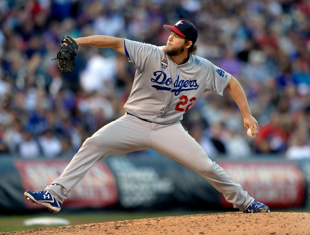 . DENVER, CO - JULY 4: Los Angeles starting pitcher Clayton Kershaw was still throwing strong in the sixth inning. The Colorado Rockies hosted the Los Angeles Dodgers at Coors Field Friday night, July 4, 2014.  Photo by Karl Gehring/The Denver Post