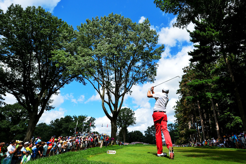 . ROCHESTER, NY - AUGUST 10:  Keegan Bradley of the United States watches his tee shot on the third hole during the third round of the 95th PGA Championship on August 10, 2013 in Rochester, New York.  (Photo by Stuart Franklin/Getty Images)