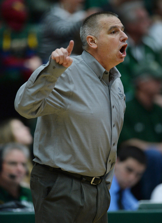 . FORT COLLINS, CO. - JANUARY 18:  Rams\' coach Larry Eustachy shouted instructions to the team in the second half. The Colorado State men\'s basketball team defeated Air Force 74-68 at Moby Arena in Fort Collins Saturday night, January 18, 2014. Photo By Karl Gehring/The Denver Post