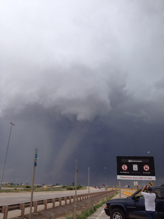 . Tornado spotted near Denver International Airport at 2:25pm. (Photo courtesy by Emily Centa)