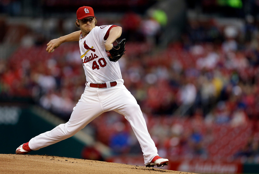. St. Louis Cardinals starting pitcher Shelby Miller throws during the first inning of a baseball game against the Colorado Rockies, Friday, May 10, 2013, in St. Louis. (AP Photo/Jeff Roberson)