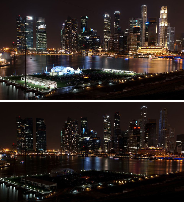 . Combination photos. The downtown Singapore skyline can be seen before (top) and after (below) the population of the city state observed Earth Hour on Saturday, March 23, 2013. Earth Hour Global is a worldwide event organized by the World Wide Fund for Nature (WWF) encouraging households and businesses to turn off their non-essential lights for one hour to raise awareness about the need to take action on climate change. The event is designed to highlight the impact climate change is having on people and nature. Millions of people in more than 150 countries are expected to take part. Earth Hour 2013 is being held on March 23, 2013 from 8:30 p.m. to 9:30 p.m. during participants\' local time. (AP Images for WWF/Earth Hour Global)