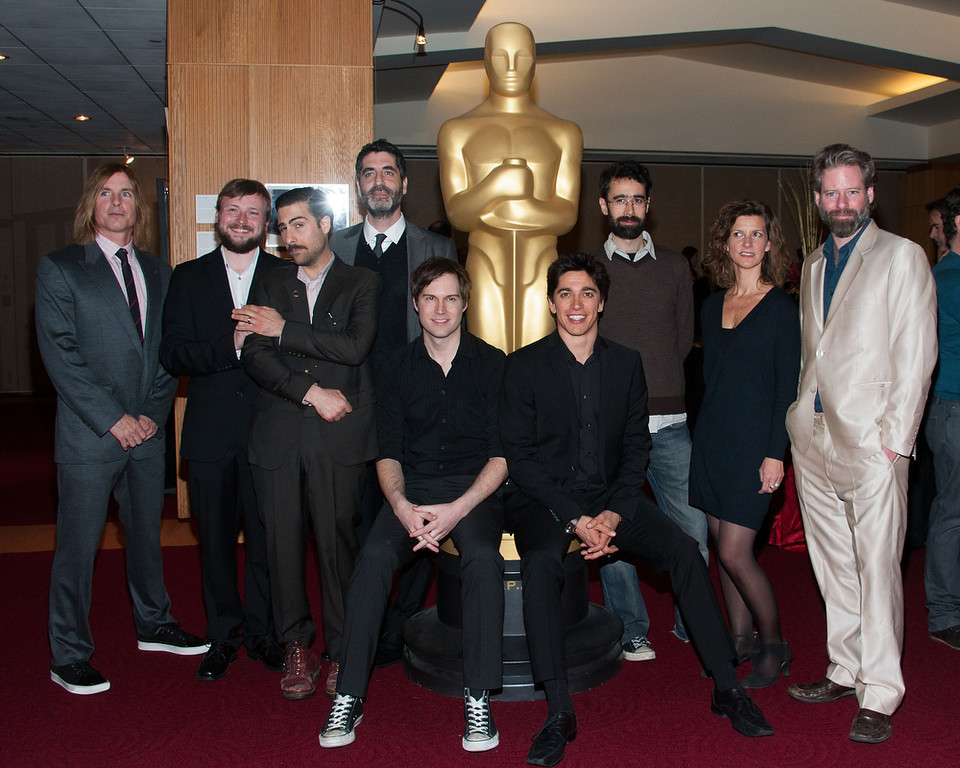 . Bryan Buckley, Tom Van Avermaet, Jason Schwartzman, Mino Jarjoura, Shawn Christensen, Yan England, Ariel Nasr, Ellen De Waele and Sam French attend The Academy Of Motion Picture Arts And Sciences Presents Oscar Celebrates: Shorts  at AMPAS Samuel Goldwyn Theater on February 19, 2013 in Beverly Hills, California. (Photo by Valerie Macon/Getty Images)