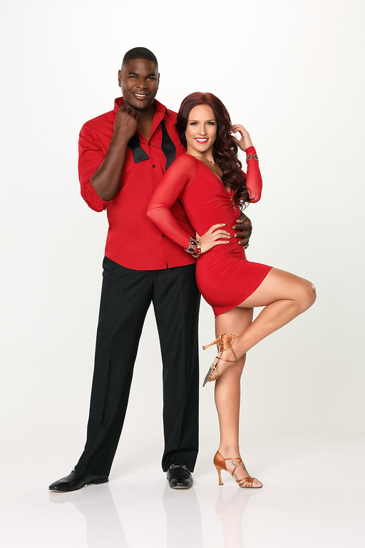". DANCING WITH THE STARS - KEYSHAWN JOHNSON & SHARNA BURGESS - Keyshawn Johnson partners with Sharna Burgess. ""Dancing with the Stars\"" returns for Season 17 on MONDAY, SEPTEMBER 16 (8:00-10:01 p.m., ET), on the ABC Television Network. (ABC/Craig Sjodin)"