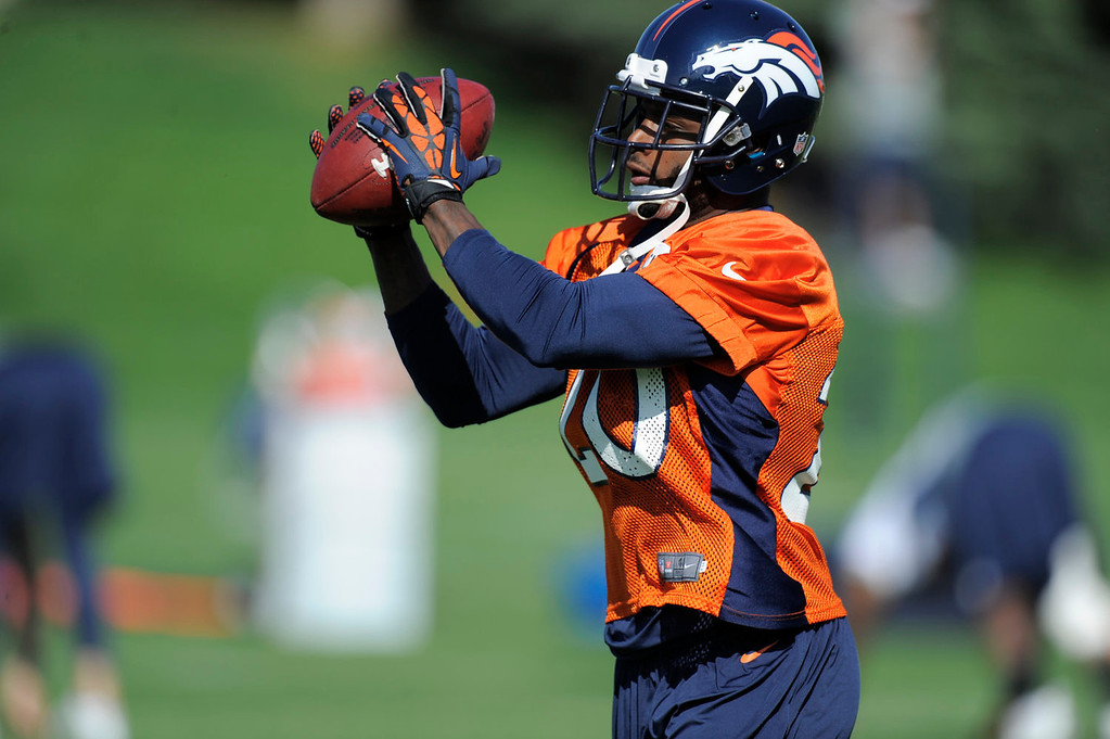 . Denver Broncos strong safety Mike Adams (20) catches a pass during practice  September 9, 2013 at Dove Valley. (Photo by John Leyba/The Denver Post)