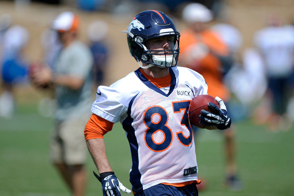 . Denver Broncos Wes Welker turns up field after catching a pass in drills during OTAs June 11, 2014 at Dove Valley. (Photo by John Leyba/The Denver Post)