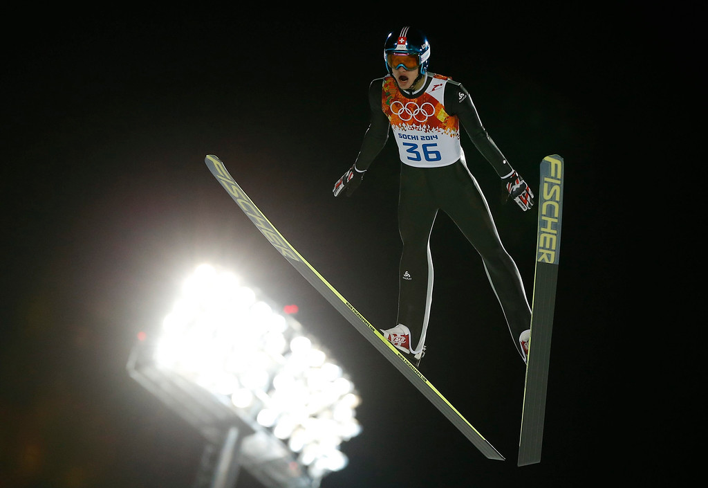 . Gregor Deschwanden of Switzerland during the trial jump round in the Normal Hill qualification of the Ski Jumping competition at the Russki Gorki Jumping Centre at the Sochi 2014 Olympic Games, Krasnaya Polyana, Russia, 08 February 2014.  EPA/VALDRIN XHEMAJ