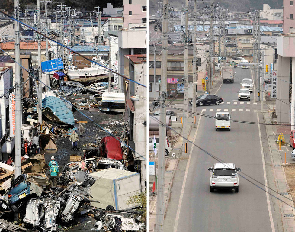 . The tsunami-devastated Miyako in Iwate prefecture is seen in this combination photo taken March 12, 2011 (L) and March 1, 2013, released by Kyodo on March 7, 2013, ahead of the two-year anniversary of the March 11 earthquake and tsunami.    REUTERS/Kyodo