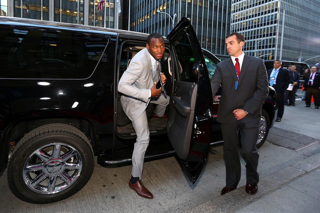 . Barkevious Mingo of the LSU Tigers arrives on the red carpet for the first round of the 2013 NFL Draft at Radio City Music Hall on April 25, 2013 in New York City.  (Photo by Al Bello/Getty Images)