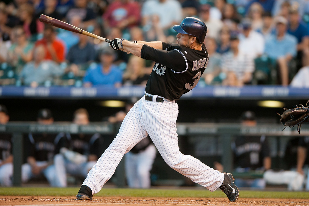 . DENVER, CO - AUGUST 06:  Justin Morneau #33 of the Colorado Rockies hits a triple in the fourth inning of a game against the Chicago Cubs at Coors Field on August 6, 2014 in Denver, Colorado.  (Photo by Dustin Bradford/Getty Images)