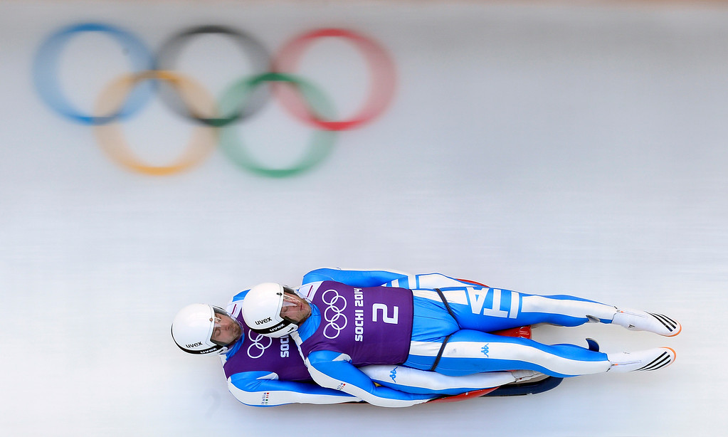 . Italy\'s Patrick Rastner and Ludwig Rieder take part in the training run 4 of the luge doubles during the 2014 Sochi Winter Olympics at the Sanki Sliding Center in Rosa Khutor on February 10, 2014.   LIONEL BONAVENTURE/AFP/Getty Images