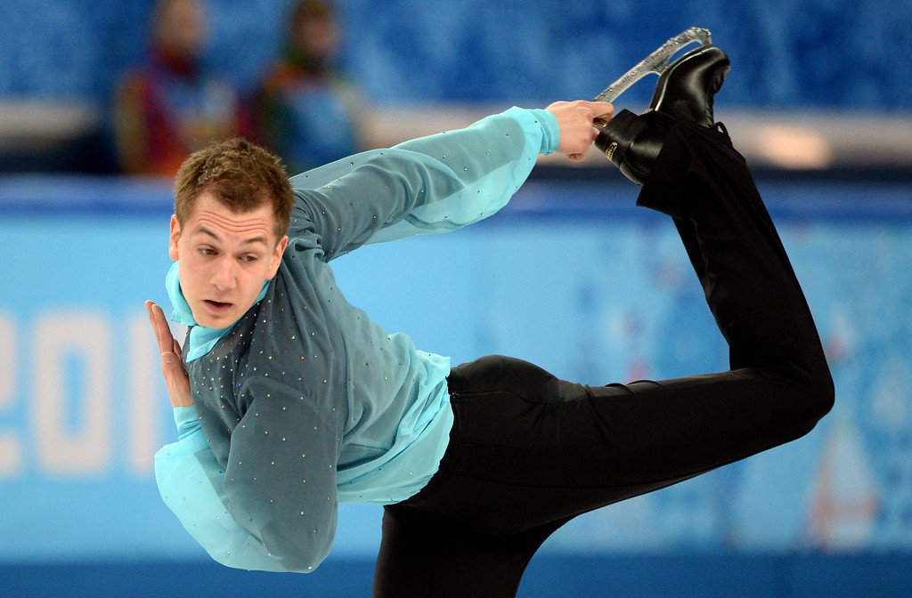 . Germany\'s Peter Liebers performs during the Men\'s Figure Skating Short Program at the Iceberg Skating Palace during the Sochi Winter Olympics on February 13, 2014.  JUNG YEON-JE/AFP/Getty Images