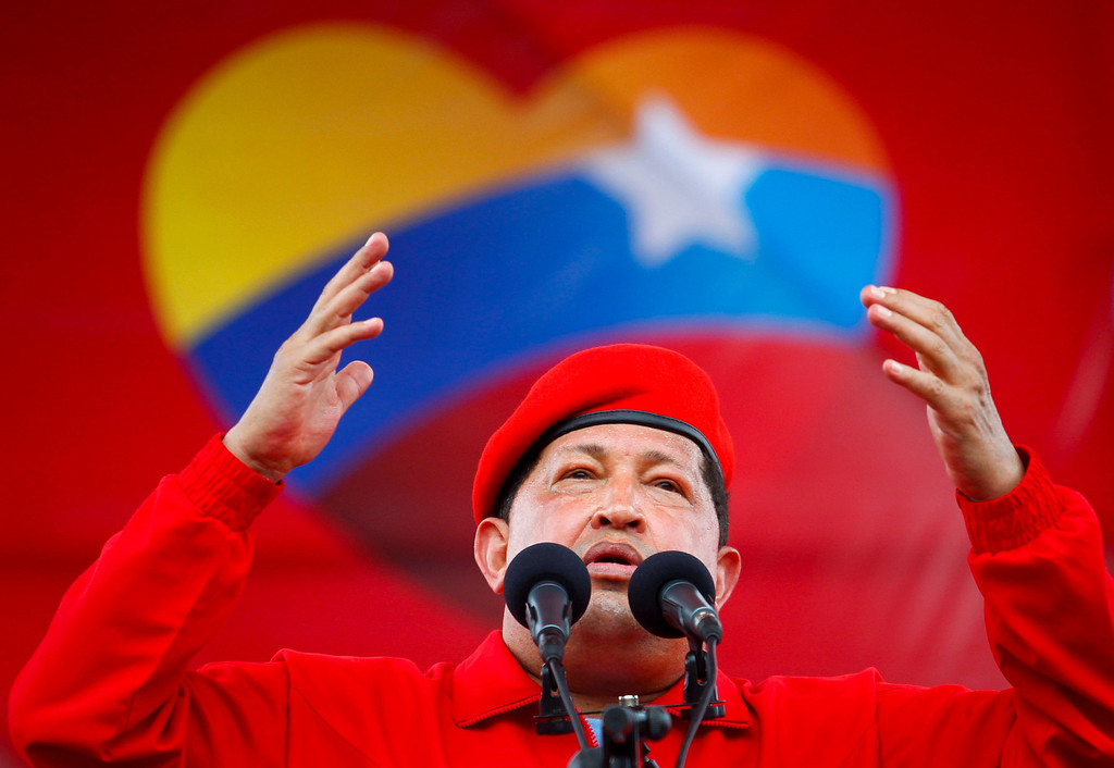 . Venezuela\'s President Hugo Chavez speaks during a rally in Maracay, some 100 km (62 miles) west of Caracas July 1, 2012. Chavez defied his health problems to join a massive rally while opposition rival Henrique Capriles took to the remotest corners of Venezuela at Sunday\'s formal launch of the presidential race. REUTERS/Carlos Garcia Rawlins