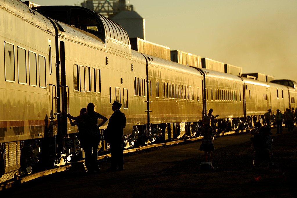 . The Denver Post Cheyenne Frontier Days train prepare to depart in Denver, CO, Saturday, July 21, 2012. Those traveling were headed for the Rodeo at Cheyenne Frontier Days. The steam locomotive No. 844 was the last built for the Union Pacific Railroad. The 454-ton steamer can reach speeds of 100 mph.  Craig F. Walker, The Denver Post