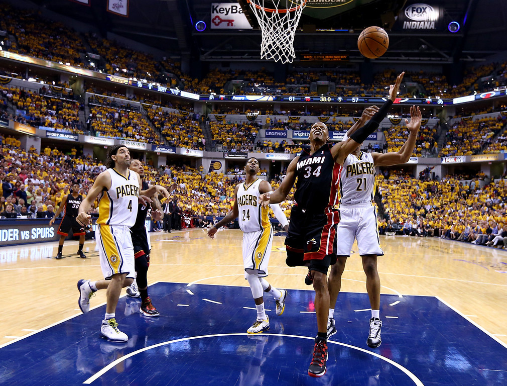 . INDIANAPOLIS, IN - MAY 28: Ray Allen #34 of the Miami Heat goes to the basket against the Indiana Pacers during Game Five of the Eastern Conference Finals of the 2014 NBA Playoffs at Bankers Life Fieldhouse on May 28, 2014 in Indianapolis, Indiana.  (Photo by Andy Lyons/Getty Images)