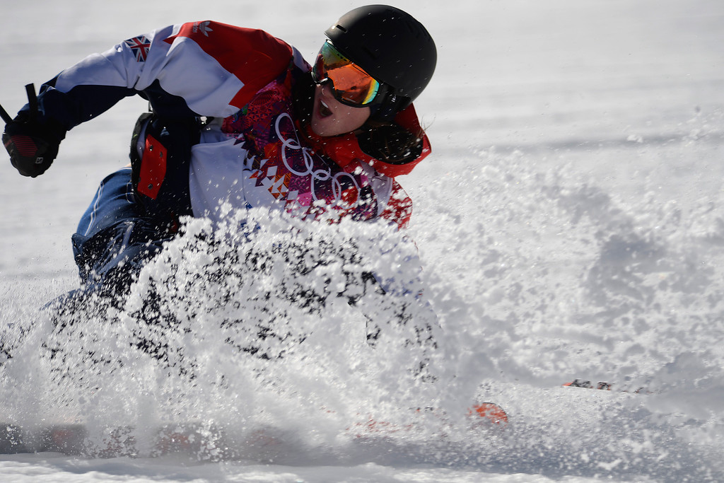 . Great Britain\'s James Woods finishes his second run during the men\'s ski slopestyle final at the Rosa Khutor Extreme Park. Sochi 2014 Winter Olympics on Thursday, February 13, 2014. (Photo by AAron Ontiveroz/The Denver Post)