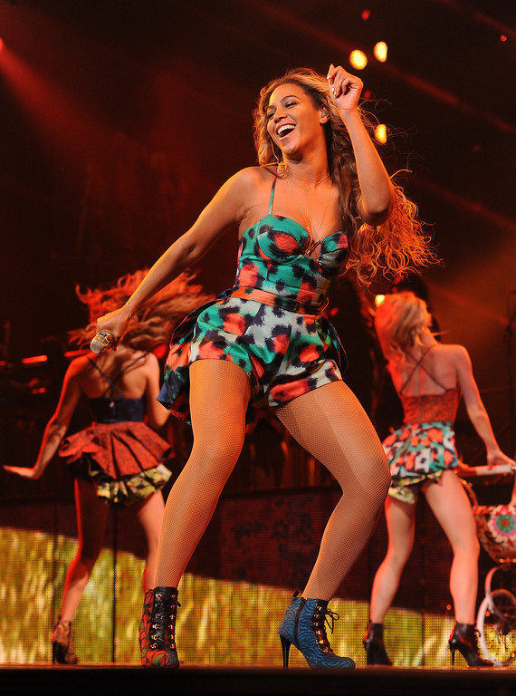""". Singer Beyonce performs on her \""""Mrs. Carter Show World Tour 2013\"""", during the BET Experience music festival on Friday June 28, 2013, in Los Angeles. (Photo by Frank Micelotta/Invision for Parkwood Entertainment/AP Images)"""