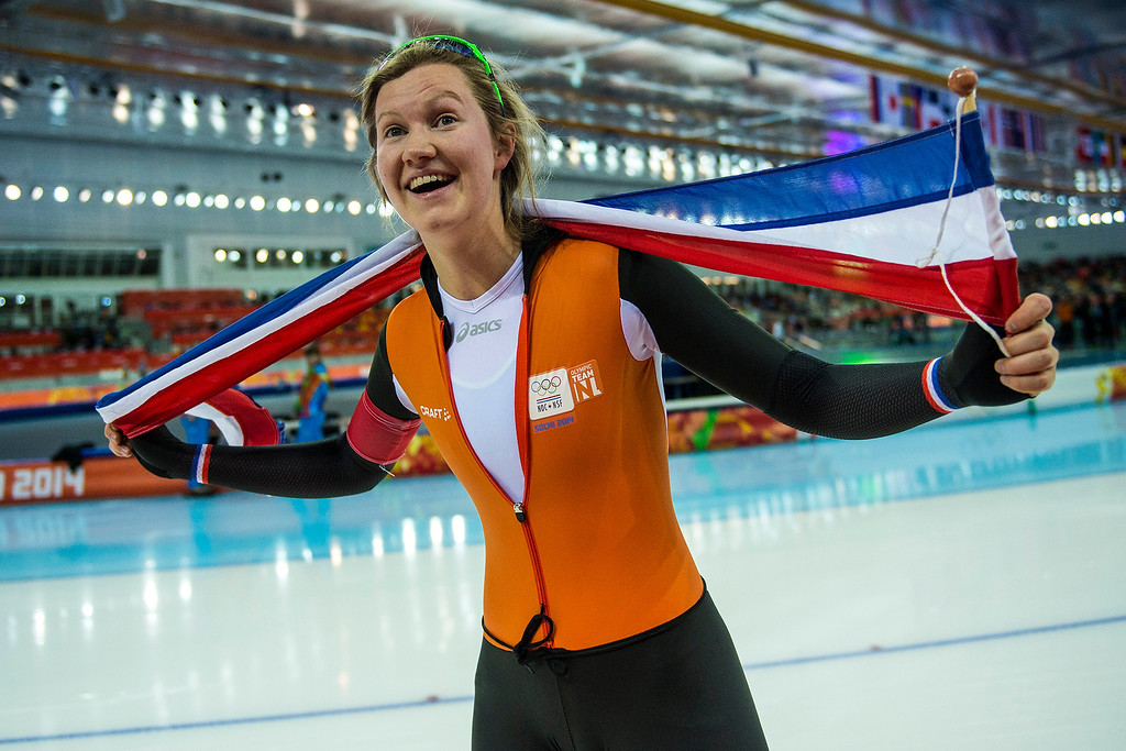 . Dutch speedskater Lotte van Beek celebrates her bronze medal win after the women\'s 1,500 meter race at Adler Arena Skating Center during the 2014 Sochi Olympics Sunday February 16, 2014. Lotte van Beek finished with a time of 1:54.54. (Photo by Chris Detrick/The Salt Lake Tribune)