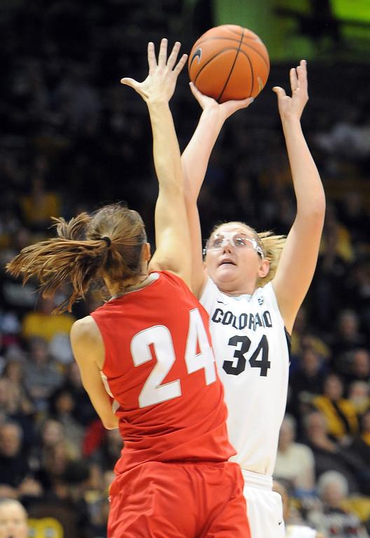 . Jen Reese shoots over Caroline Durbin of UNM, during the first half of the December 29, 2012 game in Boulder. Cliff Grassmick / December 29, 2012