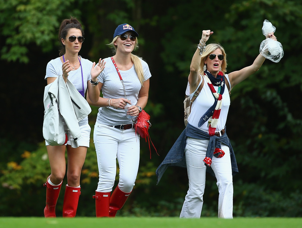 . DUBLIN, OH - OCTOBER 05:  Sybi Kuchar and Olympic skiier Lindsey Vonn watch the action on the 15th hole during the Day Three Four-ball Matches at the Muirfield Village Golf Club on October 5, 2013  in Dublin, Ohio.  (Photo by Andy Lyons/Getty Images)