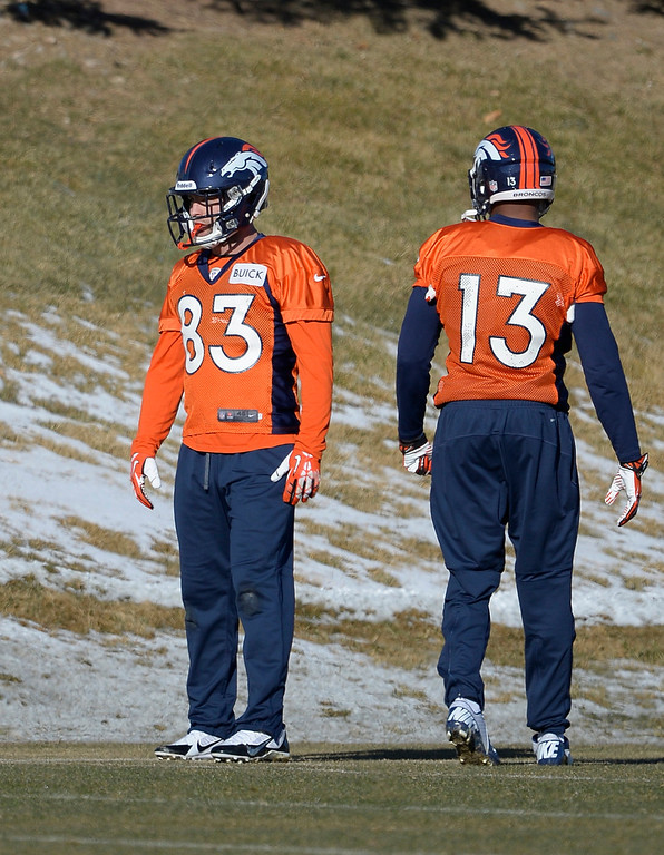. Denver Broncos wide receiver Wes Welker (83) look son during drills at practice January 2, 2014 at Dove Valley (Photo by John Leyba/The Denver Post)