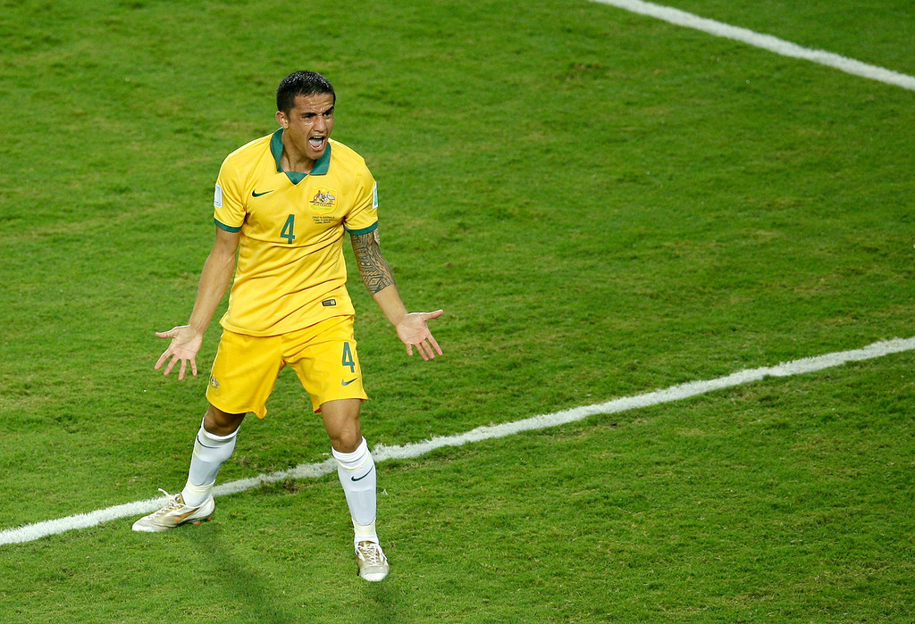 . Australia\'s Tim Cahill reacts as the referee disallowes a goal during the group B World Cup soccer match between Chile and Australia in the Arena Pantanal in Cuiaba, Brazil, Friday, June 13, 2014. (AP Photo/Michael Sohn)