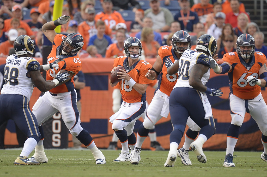 . DENVER, CO. - AUGUST 17: Denver Broncos quarterback Peyton Manning (18) drops back to pass against the St. Louis Rams defense in the first quarter August 24, 2013 at Sports Authority Field at Mile High. (Photo By John Leyba/The Denver Post)