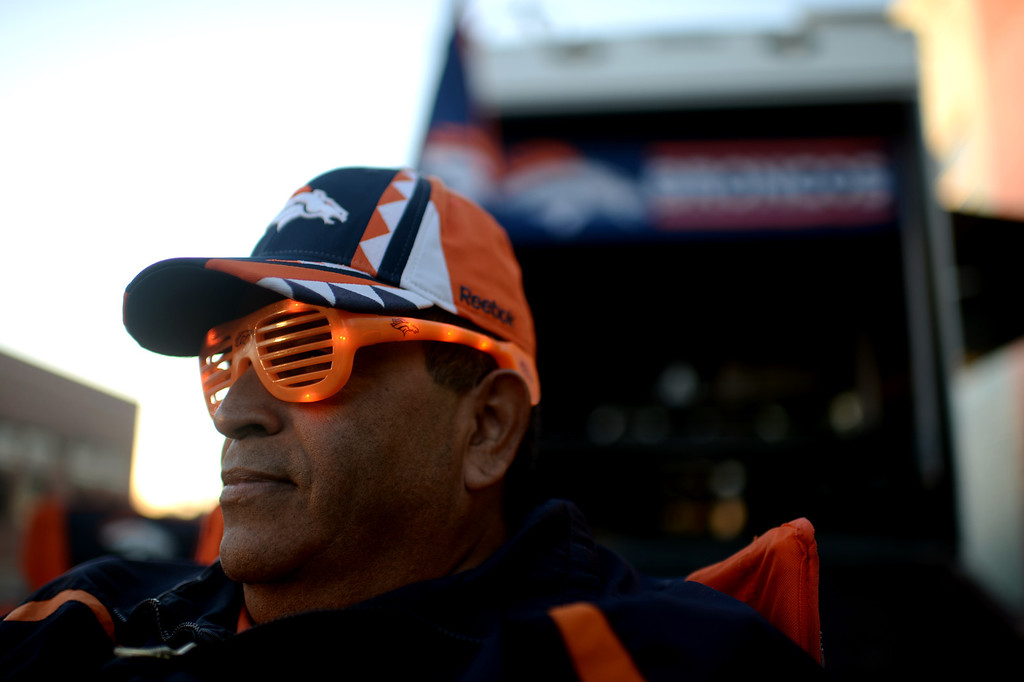 . DENVER, CO. JANUARY 18: Denver Broncos fan Joe Juarez is tailgating at the south side of Sports Authority Field at Mile High Denver. Colorado. January 18. 2014. (Photo by Hyoung Chang/The Denver Post)