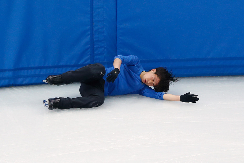 . Figure skater Tatsuki Machida of Japan falls during a training session ahead of the Sochi 2014 Winter Olympics at the Iceberg Skating Palace on February 5, 2014 in Sochi, Russia.  (Photo by Matthew Stockman/Getty Images)