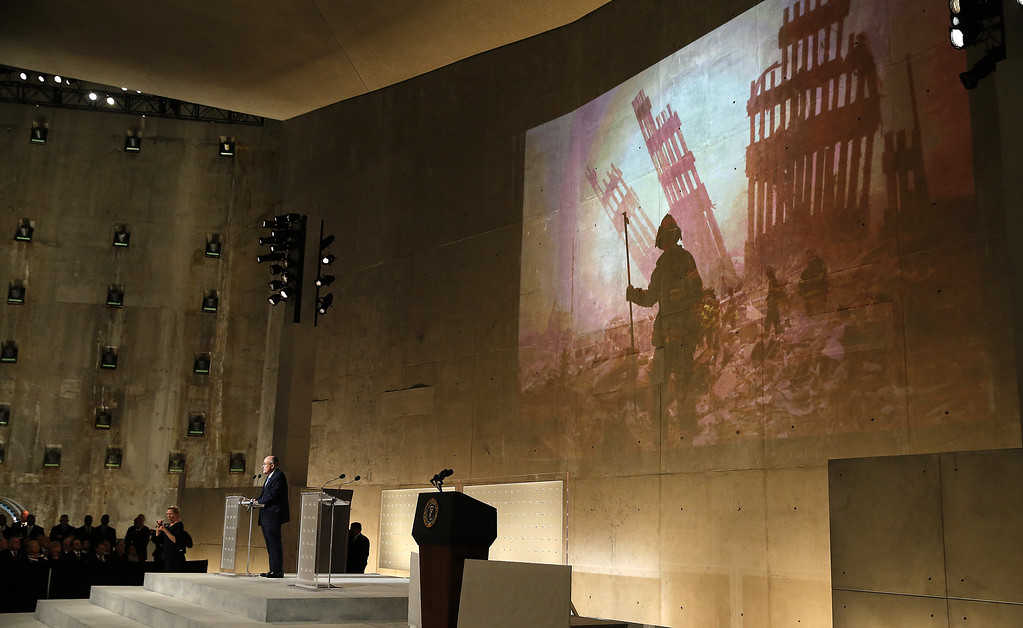 . Former New York City Mayor Rudy Giuliani speaks during the opening ceremony for the National September 11 Memorial Museum at ground zero May 15, 2014 in New York City.  (Photo by Mike Segar-Pool/Getty Images)