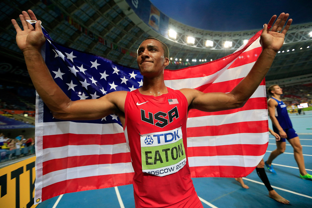 . Gold medalist Ashton Eaton of United States celebrates after the Men\'s Decathlon 1500 metres during Day Two of the 14th IAAF World Athletics Championships Moscow 2013 at Luzhniki Stadium on August 11, 2013 in Moscow, Russia.  (Photo by Jamie Squire/Getty Images)