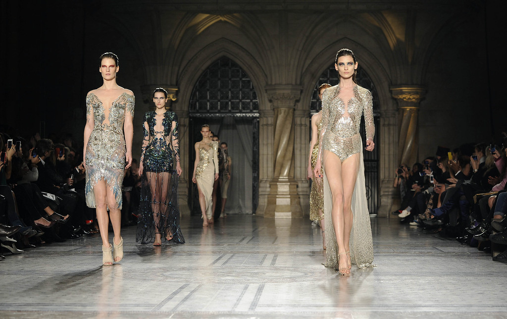 . Models walk the runway at the Julien Macdonald show at London Fashion Week AW14 at Royal Courts of Justice, Strand on February 15, 2014 in London, England. (Photo by Stuart C. Wilson/Getty Images)