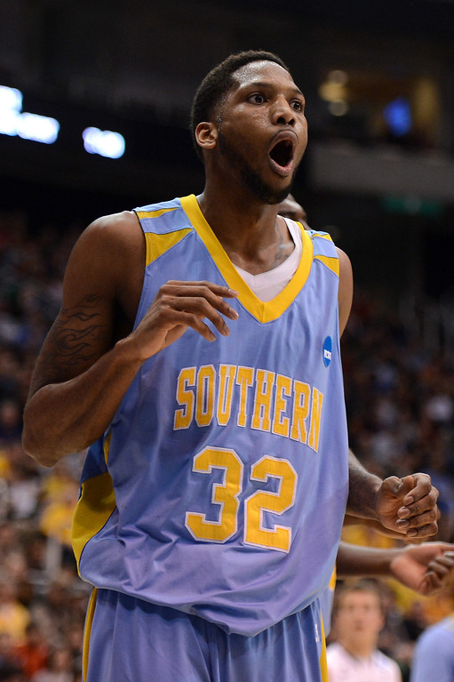 . SALT LAKE CITY, UT - MARCH 21:  Brandon Moore #32 of the Southern University Jaguars reacts in the first half while taking on the Gonzaga Bulldogs during the second round of the 2013 NCAA Men\'s Basketball Tournament at EnergySolutions Arena on March 21, 2013 in Salt Lake City, Utah.  (Photo by Harry How/Getty Images)
