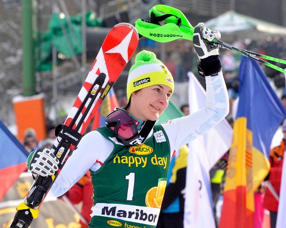 . Kathrin Zettel of Austria celebrates after finishing third at the World Cup Women\'s Slalom race in Maribor, January 27, 2013. REUTERS/Srdjan Zivulovic