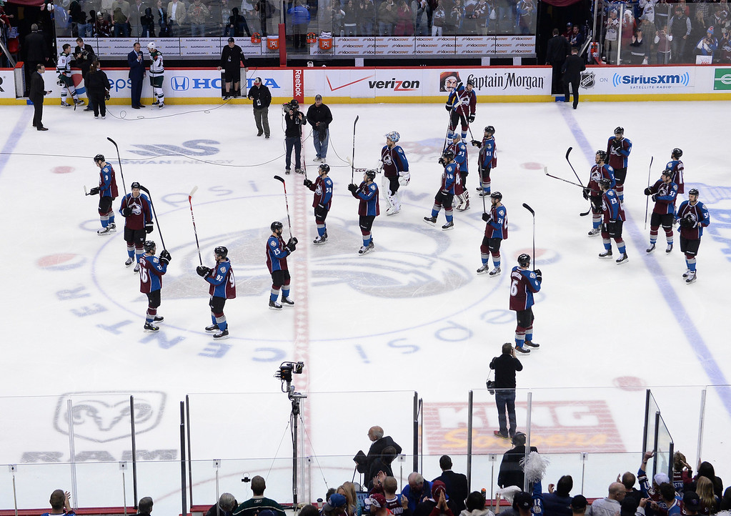 . The Avalanche saluted the fans after the overtime loss Wednesday night. The Minnesota Wild beat the Colorado Avalanche 5-4 in overtime Wednesday night, April 30, 2014 in Game 7 at the Pepsi Center in Denver. (Photo by Karl Gehring/The Denver Post)