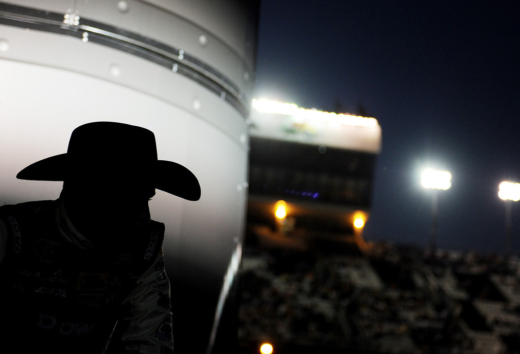 . Austin Dillon, driver of the #3 DOW Chevrolet, waits to be introduced to the crowd before the NASCAR Sprint Cup Series Budweiser Duel 1 at Daytona International Speedway on February 20, 2014 in Daytona Beach, Florida.  (Photo by Patrick Smith/Getty Images)