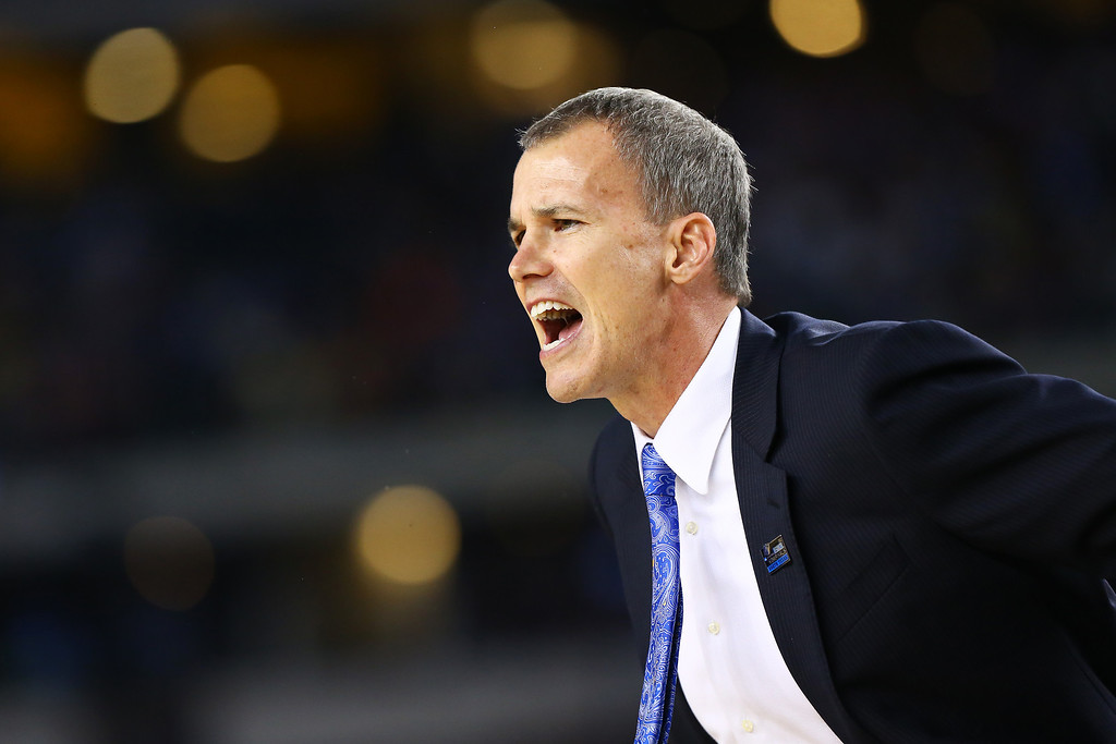 . ARLINGTON, TX - MARCH 29:  Head coach Andy Enfield of the Florida Gulf Coast Eagles reacts in the first half against the Florida Gators during the South Regional Semifinal round of the 2013 NCAA Men\'s Basketball Tournament at Dallas Cowboys Stadium on March 29, 2013 in Arlington, Texas.  (Photo by Tom Pennington/Getty Images)