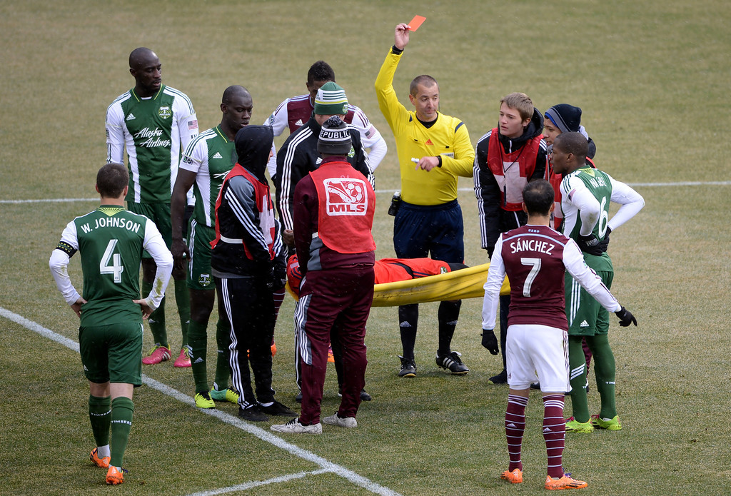 . COMMERCE CITY MARCH 22: Goalie Donovan Ricketts of Portland Timbers (1) is fouled out in the 2nd half of the game against Colorado Rapids at Dick\'s Sporting Goods Park. Commerce City, Colorado. March 22. 2014. Colorado won 2-0. (Photo by Hyoung Chang/The Denver Post)