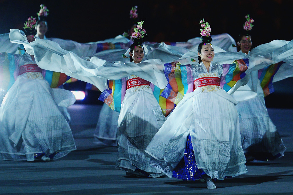 . South Korea dancers perform during the Sochi 2014 Paralympic Winter Games Closing Ceremony at Fisht Olympic Stadium on March 16, 2014 in Sochi, Russia.  (Photo by Dennis Grombkowski/Getty Images)