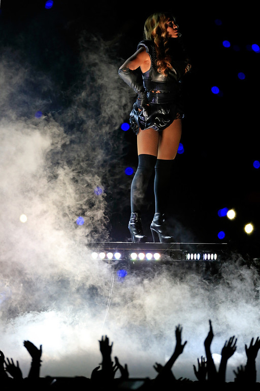 . Singer Beyonce performs during the Pepsi Super Bowl XLVII Halftime Show at the Mercedes-Benz Superdome on February 3, 2013 in New Orleans, Louisiana.  (Photo by Jamie Squire/Getty Images)